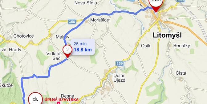Uzavírka silnice v Poříčí – objízdná trasa